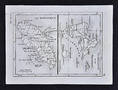 c1835 Levasseur Map - Guadeloupe Martinique Port Royal Caribbean Sea West Indies