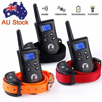 Dog Training Bark Collar No Barking Control Rechargeable LCD Remote Pet Trainer