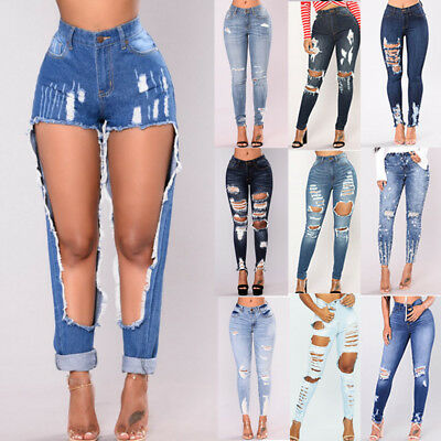 Women Stretch Ripped Skinny High Waist Denim Pants Jeans Legging Skinny Trousers