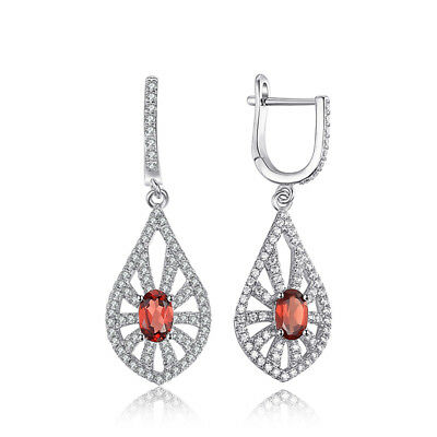 JewelryPalace Carved 1.8ct Genuine Garnet Drop Earrings 925 Sterling Silver
