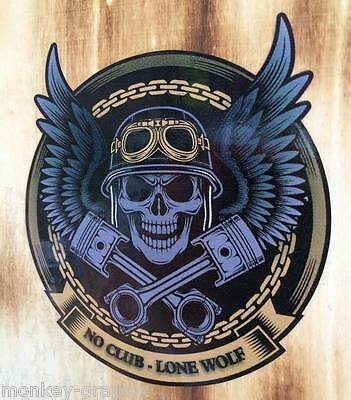XL NEW Lone Wolf Oldschool Skull Aufkleber Sticker Biker Bobber Chopper 1% USA