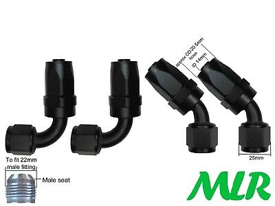 Mlr An-10 Jic 45° & 90° Degree Black Oil Cooler Remote Filter Hose Pipe Fittings