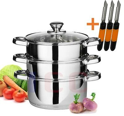 3pc stainless steel food steamer glass lid steam sauce pans cooking + 3 Peelers