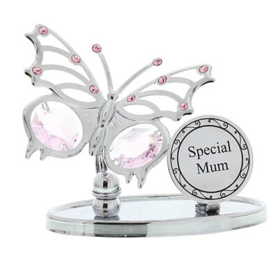 Ladies Gift Special Mum Butterfly Plaque Sign Boxed Swarovski Elements Present
