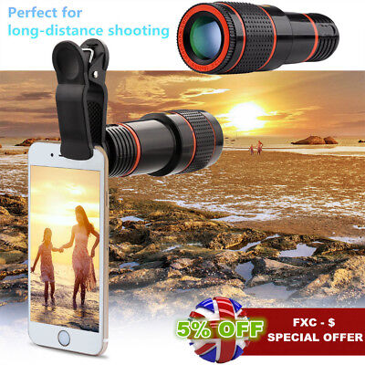 12X Optical Zoom Lens Universal Mobile Camera Telephoto Telescope + Clip-on wsw