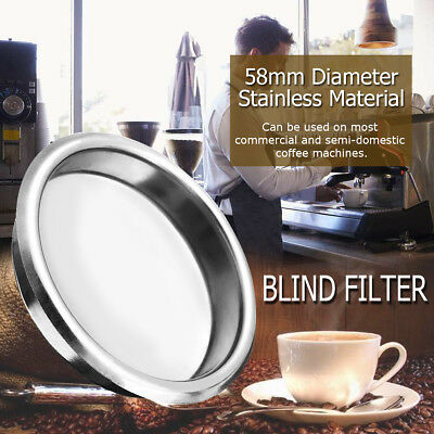 Stainless Steel 58mm BLIND FILTER Coffee Machine Maker Backflush Flush Basket