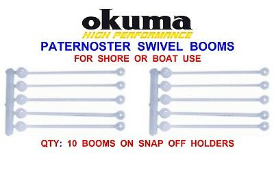 """LONG 25cm Twisted PATERNOSTER SWIVEL BOOMS SEA BOAT 10/"""" FISHING RIGS COD LURES"""