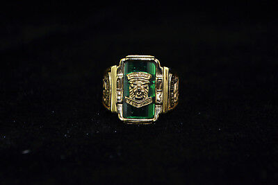 Collectible Chinese handwork tibet copper inlay jade vintage big rare Ring