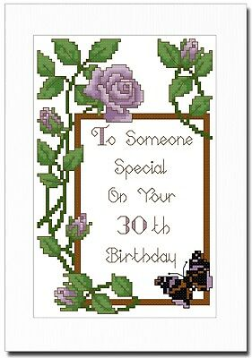 Happy Birthday Purple Roses - Any Age - Cross Stitch Card Kit