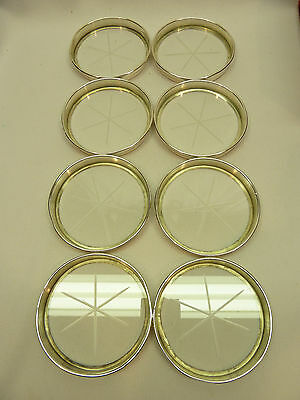 Set of 8 FRANK M WHITING & Co .925 Sterling Silver & Glass Coasters