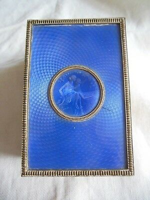 Antique Blue Guilloche Kissed by an Angel Trinket  Jewel Box