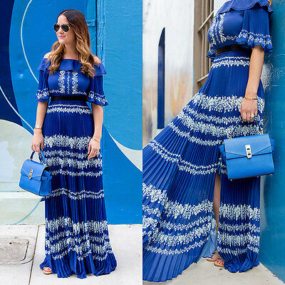c4a026b3bd Self-Portrait Off the Shoulder Blue lace Pleated Maxi Dress New BNWT UK 6 IT