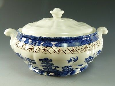 """Royal DOULTON / Booths China - Real Old Willow - Tureen - 9 1/2"""""""