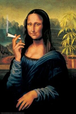 MONA LISA SMOKING JOINT ART POSTER PICTURE, POT WEED MARIJUANA, size 24x36