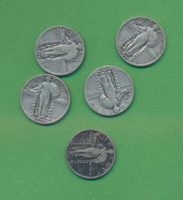Liberty Standing Quarters - 1928-S - 5 Coins