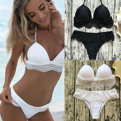 Sexy Lace Mesh High Waist Women Bikini Set Push-up Padded Bra Swimsuit Swimwear