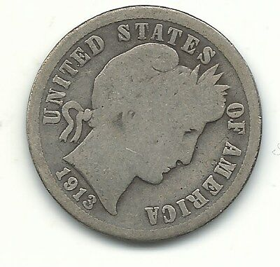 A Vintage Good/vg Condition 1913 P Barber Silver Dime Coin-Old Us Coin-Apr764