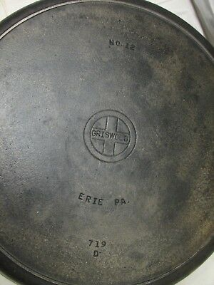 Antique Griswold #12 Cast Iron Skillet Mold 719D Frying Pan w/Heat/Smoke Ring B