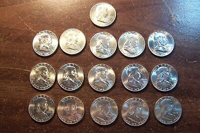 Franklin Half Dollar Lot of 16 B.U. Uncirculated All Different Dates