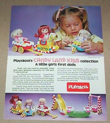 1982 print ad page - Playskool Candy Land Kids dolls toys Cute little Girl AD