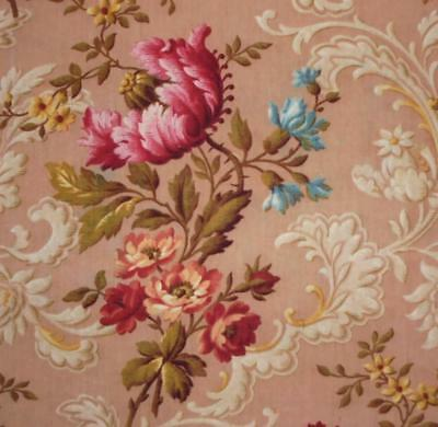 BEAUTIFUL 19th CENTURY FRENCH LINEN INDIENNE c1850s POPPIES & FLORALS