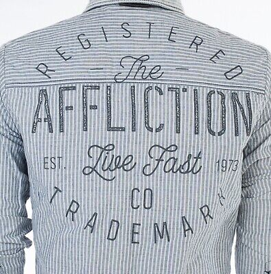 AFFLICTION Mens REVERSIBLE Button Down Shirt DOUBLE SIDED PINSTRIPE Roar BKE $88