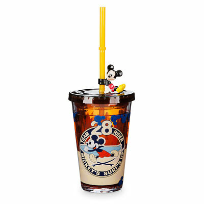 Disney Store Mickey Mouse & Pluto Surf's Up Kids Tumbler Cup w/ Straw 8oz New