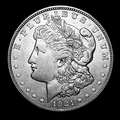 1921 D ~**ABOUT UNCIRCULATED AU**~ Silver Morgan Dollar Rare US Old Coin! #X66