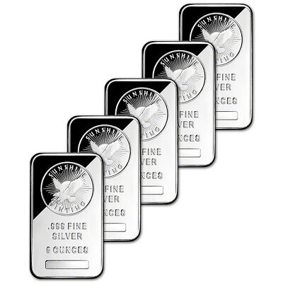 FIVE (5) 5 oz. Silver Bar - Sunshine Minting - .999 Fine - Sealed