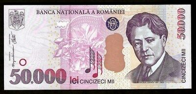 Romania 50 000 Lei 2001 UNC  Great Romanian Composer George Enescu