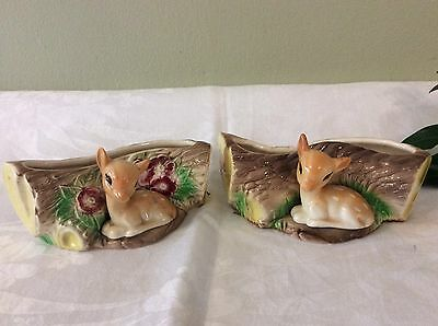 set of Two very Cute Easgate Pottery Fauna Vases With Fawns Numbers 10 & 18 Vgc
