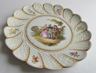 Antique Meissen Porcelain Charger Hand Painted 11 Inches AS IS Stapleware