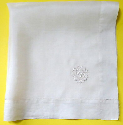 """Antique Pure Silk 20"""" Large Monogrammed Handkerchief Embroidery Letter R"""