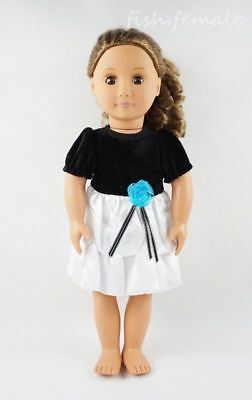Fit For 18'' American Girl Black & White Pleated Princess Dress Doll Clothes New