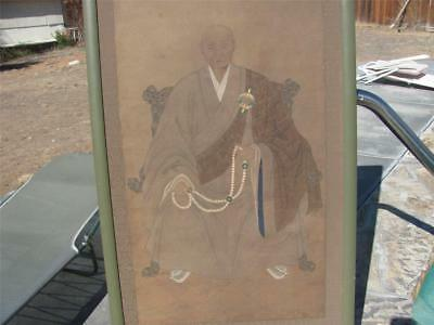 Antique Asian portrait painting Japanese man monk? on brown rice paper