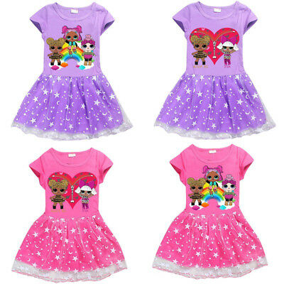 UK Kids LOL Surprise Dolls Game Girls Dresses Summer Casual T-Shirt Skirts Tops