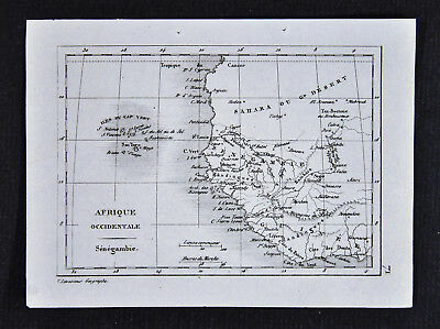 c1835 Levasseur Map - West Africa - Guinea Senegambia Cape Verde Islands Sahara