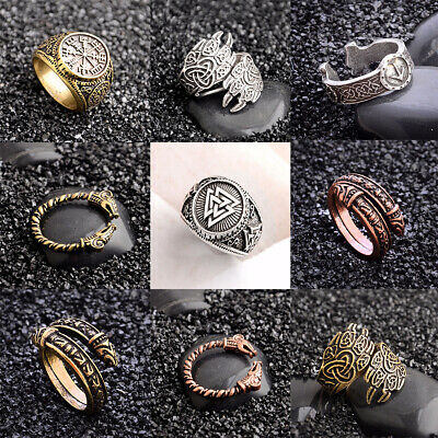 New Solid Adjustable Viking Ring Dragon Heads Wolf Pow Norse Nordic Antique Ring