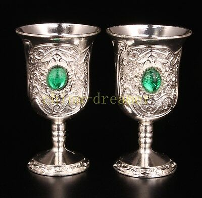 2 Tibet Silver Cup Green Jade Gift Craft Collectable