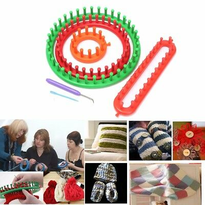 4pcs BIG Round Knitting Knitter Looms Ring Set Crochet Kit Sock Scarf Hat Maker