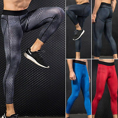 Men's Sports Gym Compression Skins Tights Pants Base Layer 3/4 length Trousers