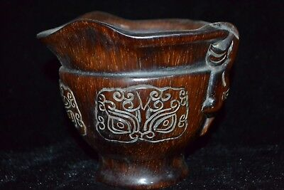 Antique Chinese rare Collectible Old 0-x Horn Carve Handwork cup totem Statue
