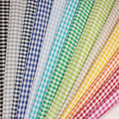 """100% Cotton Fabric 1/4"""" Mini Check Gingham Squares 140cm Wide Tablecloth Summer"""