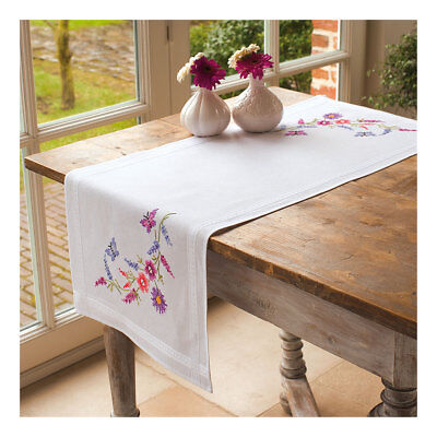 Embroidery Kit Runner Colourful Flowers  Stitched on Cotton Fabric 40x100cm