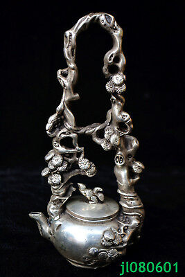 chinese old Antique tibet silver carve tree flower handwork Statue rare teapot