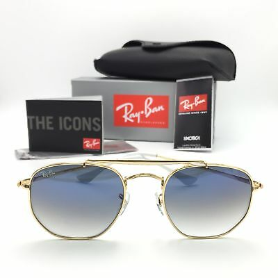 New Ray-Ban RB3648 001/3F Gold Marshal Sunglasses Gradient Blue Lenses 54mm