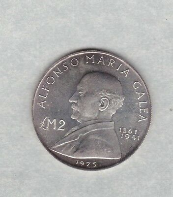 1975 Malta Silver Two Pounds In Near Mint Condition Alfonso Maria Galea