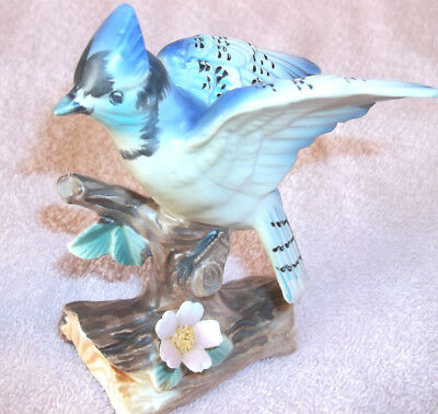 Ceramic Collectible Blue Jay Figurine - Enessco Japan