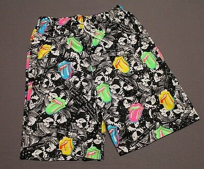 L * NOS vtg 80s 1989 THE ROLLING STONES all over print shorts * matches shirt