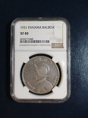 1931 PANAMA BALBOA NGC XF40 SILVER 1B Coin PRICED TO SELL RIGHT NOW!